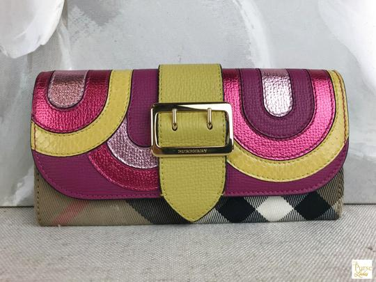 Burberry Burberry Multi-Color Leather Nova Check Canvas Buckle Envelope Wallet Image 1