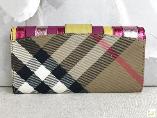 Burberry Burberry Multi-Color Leather Nova Check Canvas Buckle Envelope Wallet Image 2
