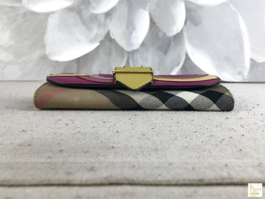 Burberry Burberry Multi-Color Leather Nova Check Canvas Buckle Envelope Wallet Image 5