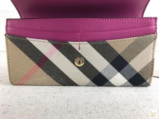 Burberry Burberry Multi-Color Leather Nova Check Canvas Buckle Envelope Wallet Image 7