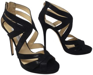 Jimmy Choo Suede Gold Hardware Ankle Strap Peep Toe Black Sandals