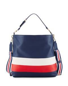 Tory Burch Color-blocking Leather Gold Hardware Classic Hobo Bag