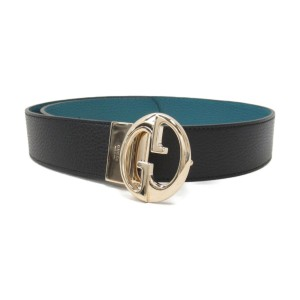 Gucci Gucci Womens Cobalt Nero Pebbled Calf Leather Belt 450000 Size 100/40