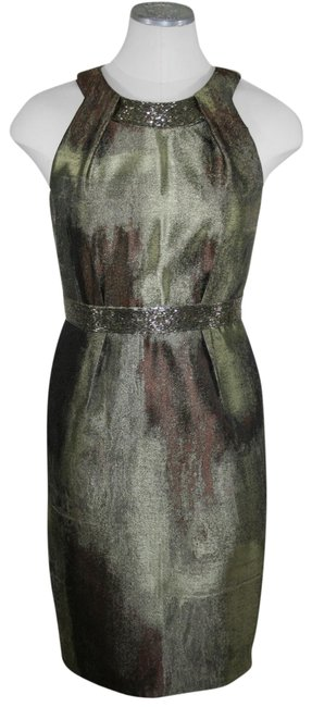 Item - Chartreuse Bronze Olive Evening Mid-length Cocktail Dress Size 2 (XS)