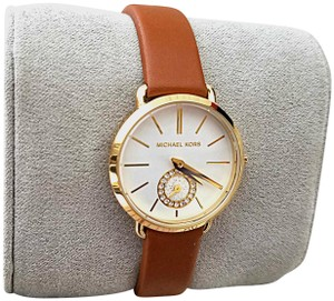 Michael Kors New Women's Gold-Tone and Luggage Leather Portia Watch MK2734