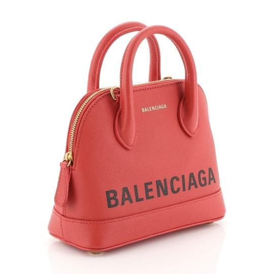 Balenciaga Logo Ville Leather Satchel in red Image 1