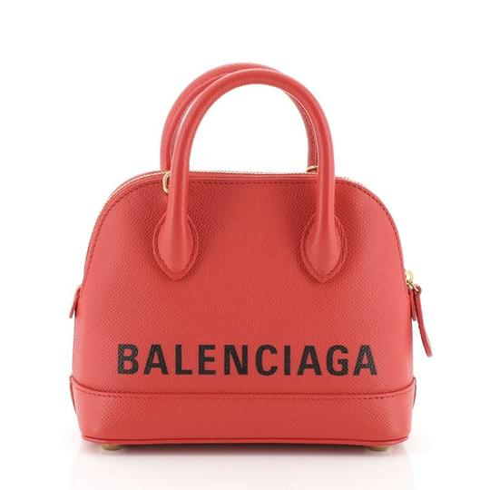 Balenciaga Logo Ville Leather Satchel in red Image 2