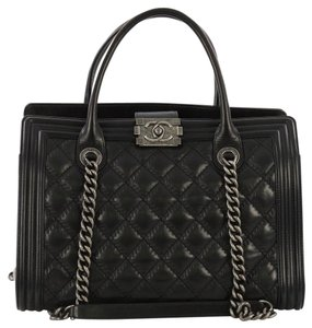 Chanel Quilted Chain Ruthenium Cc Boy Tote in Black