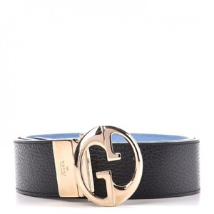 Gucci Gucci Womens Blue/Nero Pebbled Calf Leather Belt 450000 size 80/32