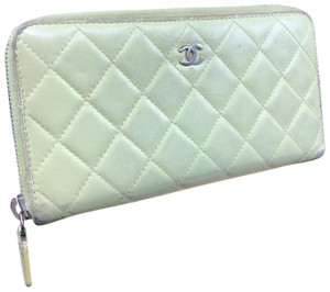 Chanel CC010 Chanel Quilted Leather zip around long wallet