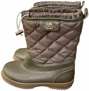 """Coach Leather Shaft Height 9"""" Heel Height 1"""" All Weather Fabric Army green Boots"""