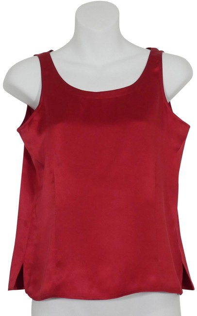 Item - China Red XS Silk Satin Charmeuse Shell Tank Top/Cami Size 2 (XS)