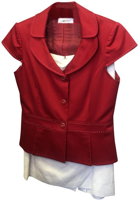 Item - Red White Size8p Red/White Cotton/Linen Skirt Suit Size Petite 8 (M)