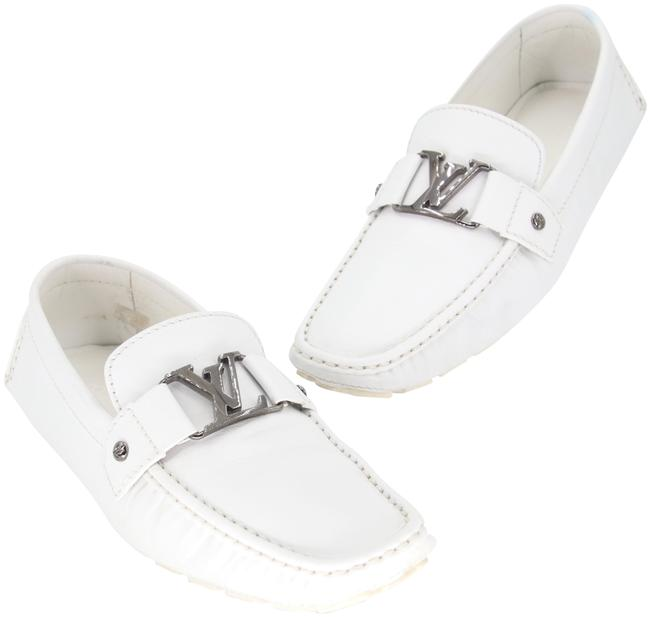 Item - White Leather Monte Carlo Driving Moccasin Initiales Men's Loafers Formal Shoes Size US 10.5 Regular (M, B)
