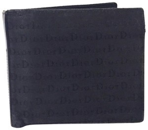 Dior black canvas and leather bifold monogram wallet