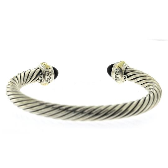 David Yurman David Yurman 925 Silver 14K Gold 7mm Cable Black Onyx Bangle 7