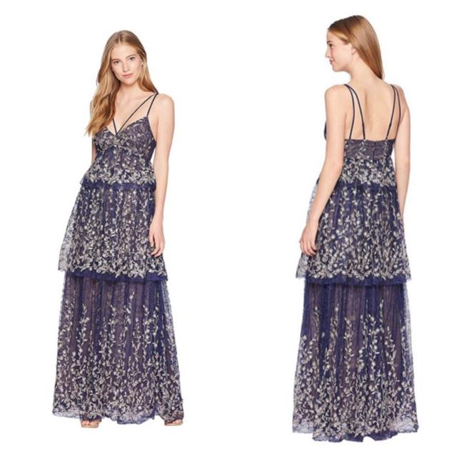 Preload https://img-static.tradesy.com/item/25973417/bcbgmaxazria-blue-embroidered-navy-tiered-lace-gown-long-formal-dress-size-2-xs-0-0-650-650.jpg