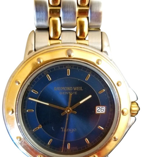 Preload https://img-static.tradesy.com/item/25973430/raymond-weil-gold-silver-tango-men-s-blue-dial-two-tone-watch-0-3-540-540.jpg