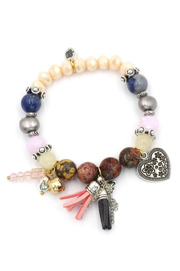 Ocean Fashion Colorful bead silver heart bracelet Image 0