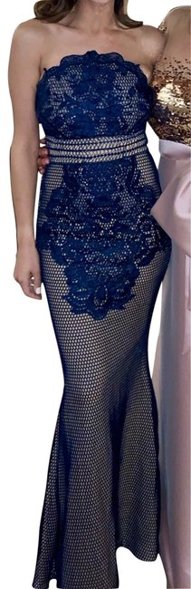 Preload https://img-static.tradesy.com/item/25973509/ny-collection-navy-blue-and-nude-lace-gown-long-formal-dress-size-2-xs-0-2-650-650.jpg