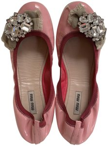 Miu Miu Embellishment Patent Leather Crystal Pink Flats