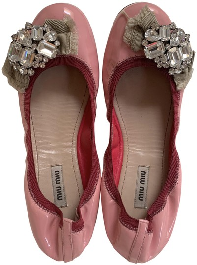 Miu Miu Embellishment Patent Leather Crystal Pink Flats Image 0