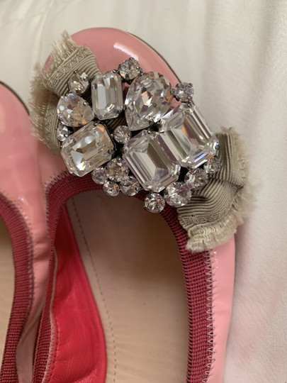 Miu Miu Embellishment Patent Leather Crystal Pink Flats Image 1