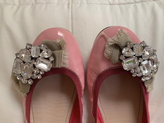 Miu Miu Embellishment Patent Leather Crystal Pink Flats Image 4