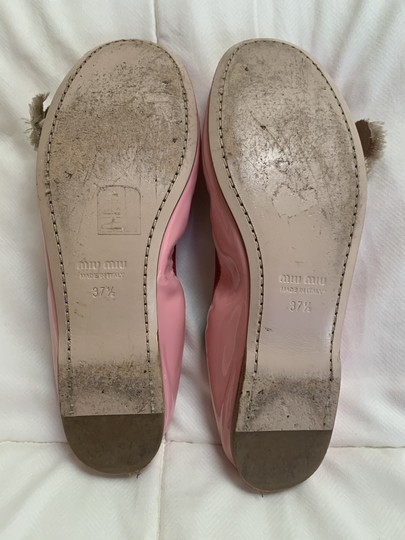 Miu Miu Embellishment Patent Leather Crystal Pink Flats Image 6