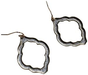 Bloomingdale's Moroccan trefoil design Silver rhinestone Druzy cut out Earrings