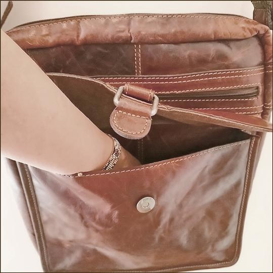 Jack Georges Leather Rustic Western Cross Body Bag Image 4