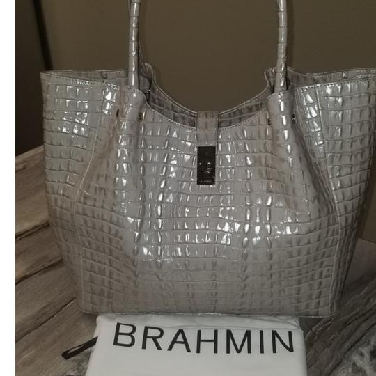 Brahmin Mallory La Scala Leather Tote in Warm Gray Image 0