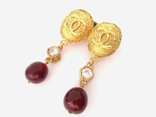 Chanel Chanel CC logo w/ crystal burgundy stone dangle clips earrings Image 1