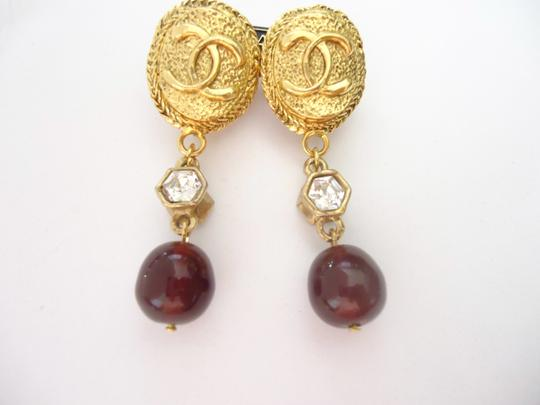 Chanel Chanel CC logo w/ crystal burgundy stone dangle clips earrings Image 2