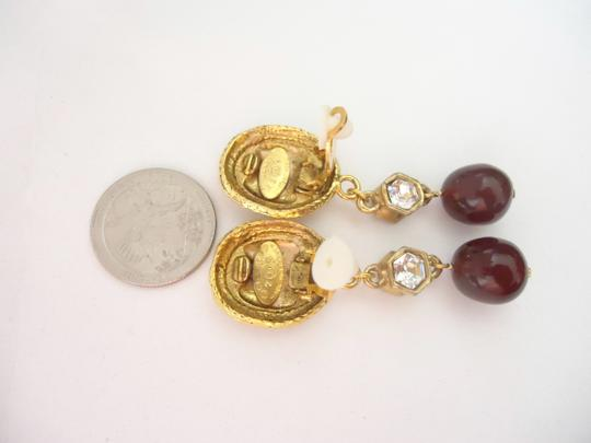 Chanel Chanel CC logo w/ crystal burgundy stone dangle clips earrings Image 4