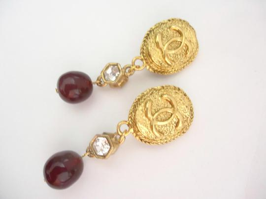 Chanel Chanel CC logo w/ crystal burgundy stone dangle clips earrings Image 5