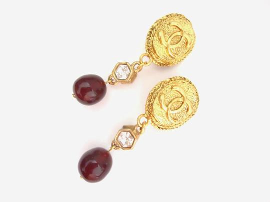 Chanel Chanel CC logo w/ crystal burgundy stone dangle clips earrings Image 6