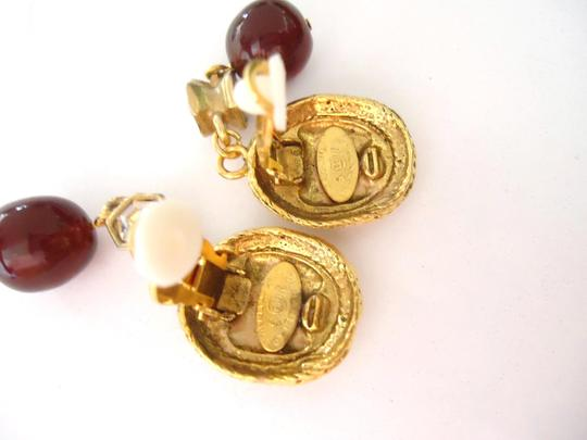 Chanel Chanel CC logo w/ crystal burgundy stone dangle clips earrings Image 7