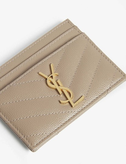 Saint Laurent Monogram Quilted Leather Credit Card Case Image 1