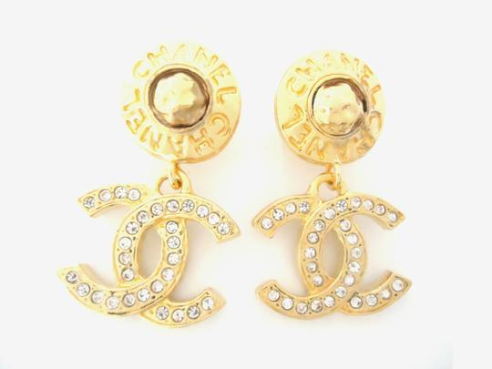 Chanel chanel Cc Logos Double Sided Crystal Dangle Drop Clips Earrings Image 1