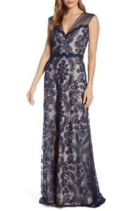 Tadashi Shoji Blue Embroidered Lace Evening Gown Formal Bridesmaid/Mob Dress Size 16 (XL, Plus 0x)
