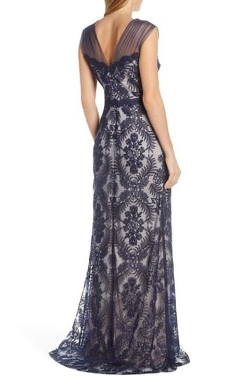 Tadashi Shoji Blue Embroidered Lace Evening Gown Formal Bridesmaid/Mob Dress Size 16 (XL, Plus 0x) Image 1