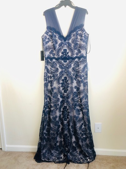 Tadashi Shoji Blue Embroidered Lace Evening Gown Formal Bridesmaid/Mob Dress Size 16 (XL, Plus 0x) Image 5