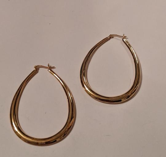 Unknown Gold Plated Sterling Silver Teal Drop Hoop Earrings 925 Stamped Large Image 2