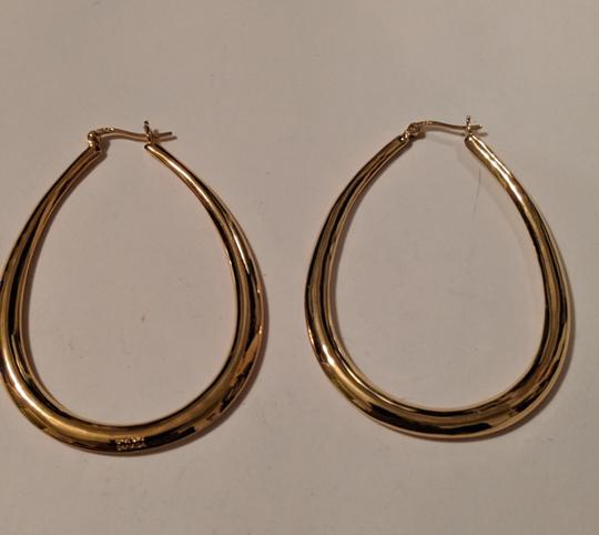 Unknown Gold Plated Sterling Silver Teal Drop Hoop Earrings 925 Stamped Large Image 3
