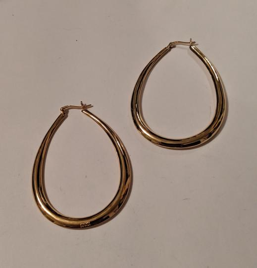 Unknown Gold Plated Sterling Silver Teal Drop Hoop Earrings 925 Stamped Large Image 4