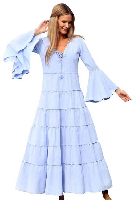 Preload https://img-static.tradesy.com/item/25973899/lirome-denim-blue-bonita-organic-cotton-retro-vintage-bohemian-long-casual-maxi-dress-size-8-m-0-2-650-650.jpg