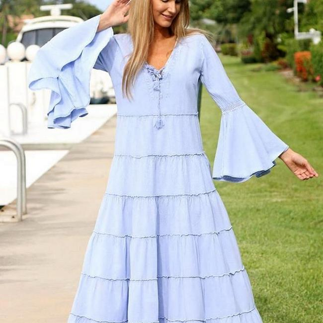Denim Blue Maxi Dress by Lirome Boho Vintage Retro Ibiza Maxi Image 1