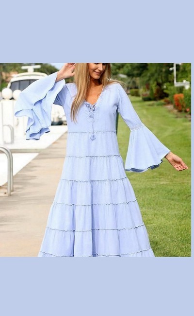 Denim Blue Maxi Dress by Lirome Boho Vintage Retro Ibiza Maxi Image 2