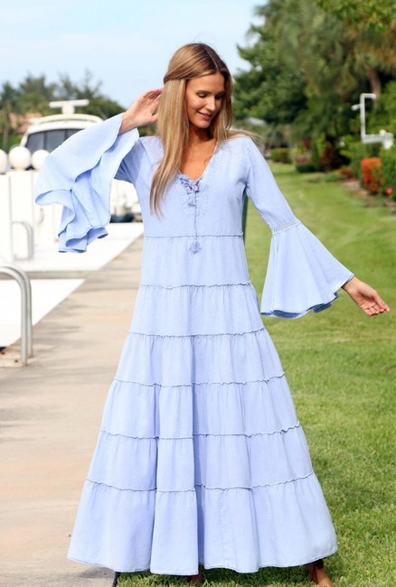 Denim Blue Maxi Dress by Lirome Boho Vintage Retro Ibiza Maxi Image 3